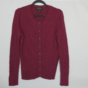 Eddie Bauer Cardigan Ribbed Sweater Size Large